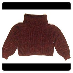 Cropped knit purple sweater, size Small.